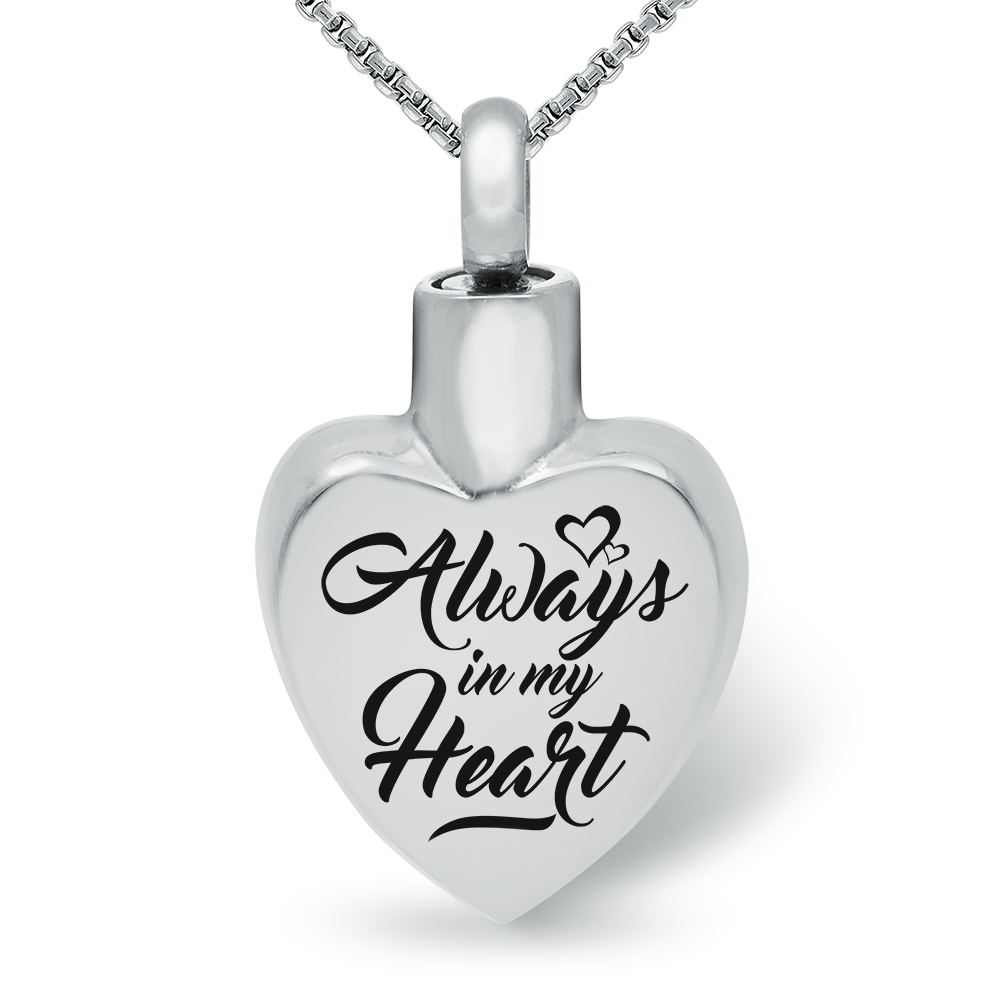 Always in My Heart Ashes Memorial Locket Necklace, Personalised, Stainless Steel
