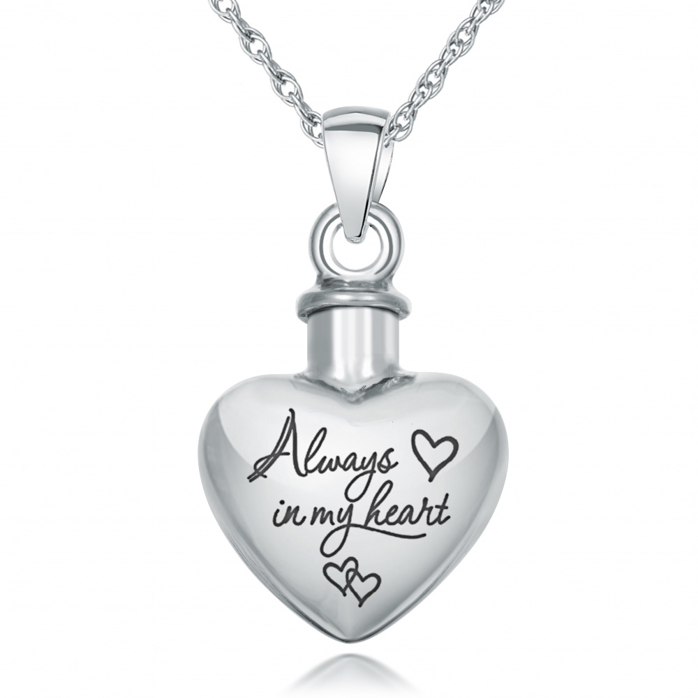 always in my heart ashes necklace personalised 925. Black Bedroom Furniture Sets. Home Design Ideas