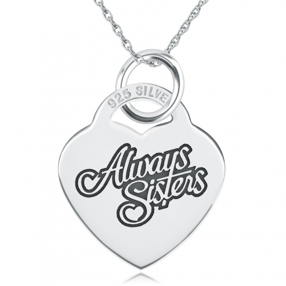 Always Sisters Heart Shaped Sterling Silver Necklace (can be personalised)