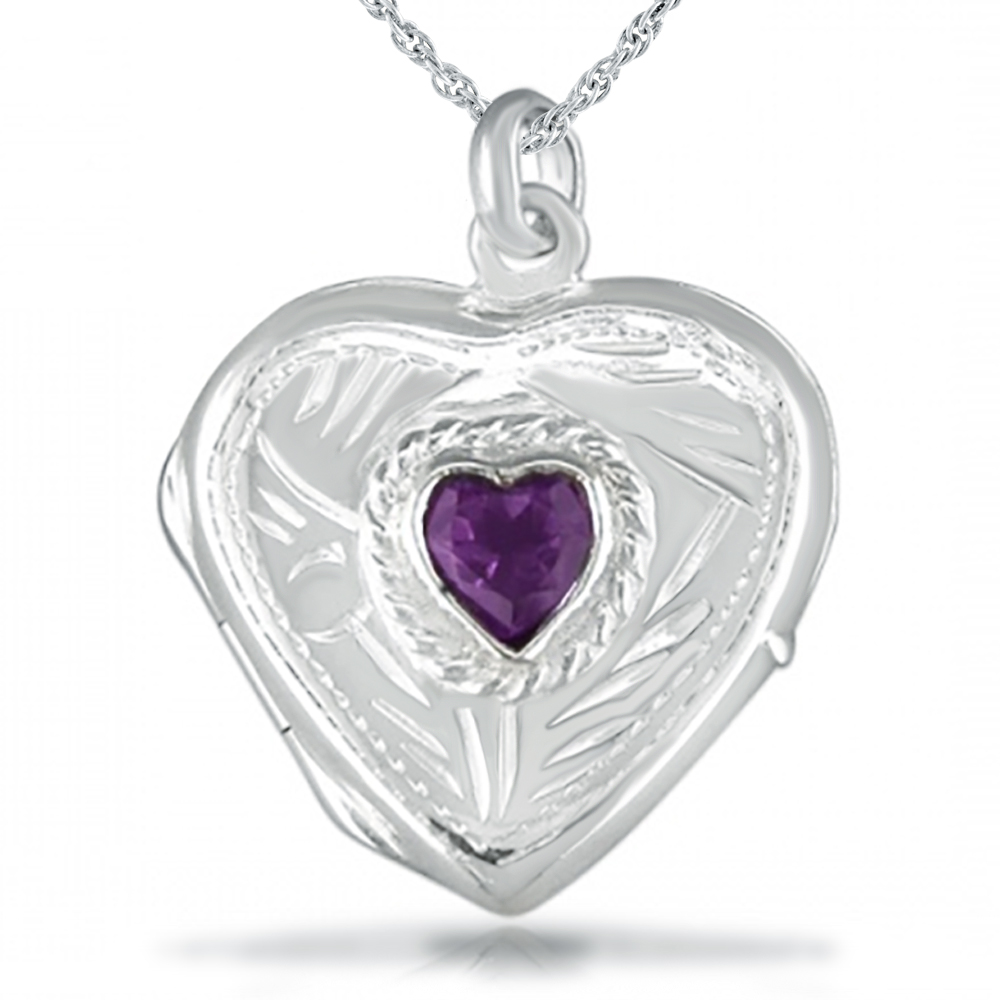 Amethyst Sterling Silver Heart Shaped Locket with Engraved Detailing
