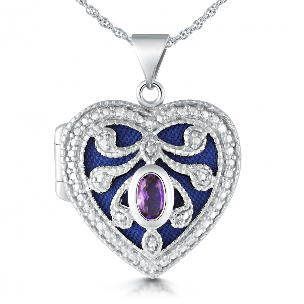purple amethyst jewelry locket product lockets burst heart isabel
