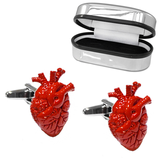 Anatomical Surgeons Heart Cufflinks with Chrome Box (can be personalised)