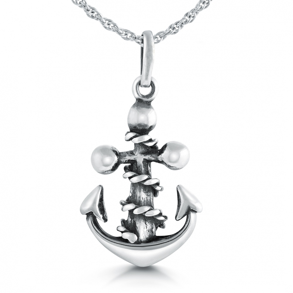 Anchor Necklace, with Wrap Around Rope, Sterling Silver