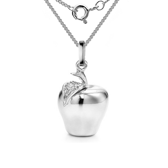 Apple necklace sterling silver with chain aloadofball Choice Image