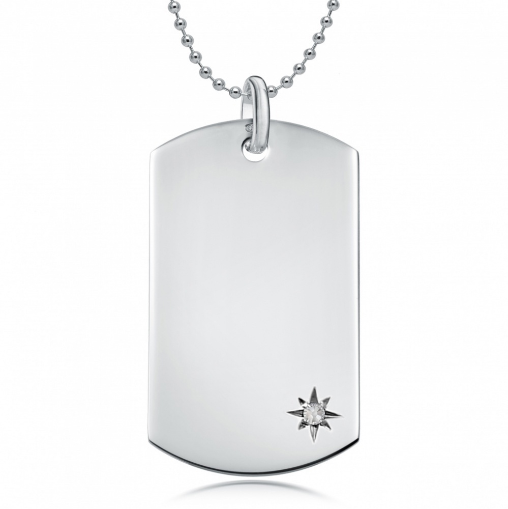 April Birthstone Dog Tag Necklace, Personalised Engraving, Sterling Silver, Diamond
