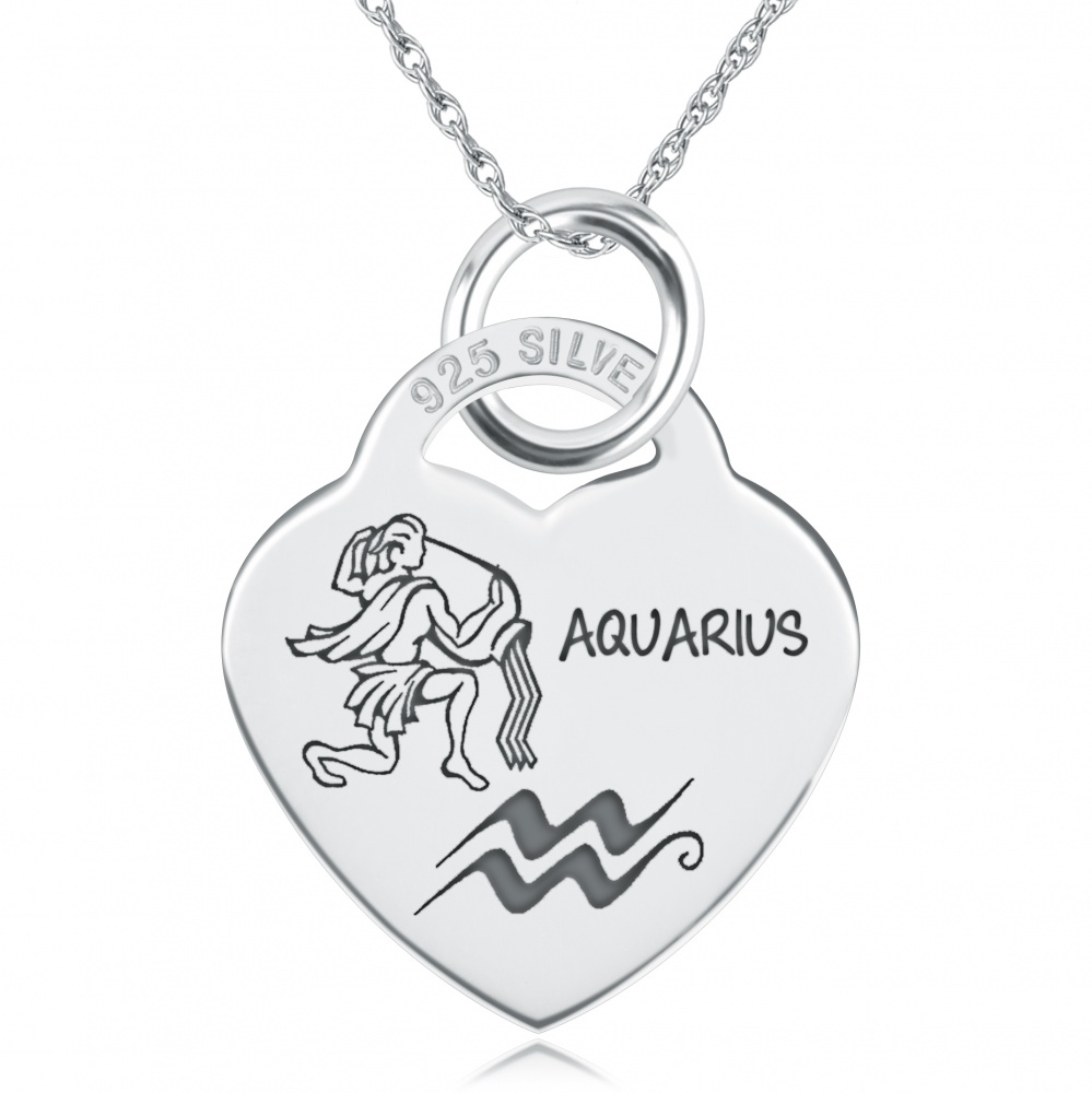 Aquarius Necklace, Personalised, Sterling Silver