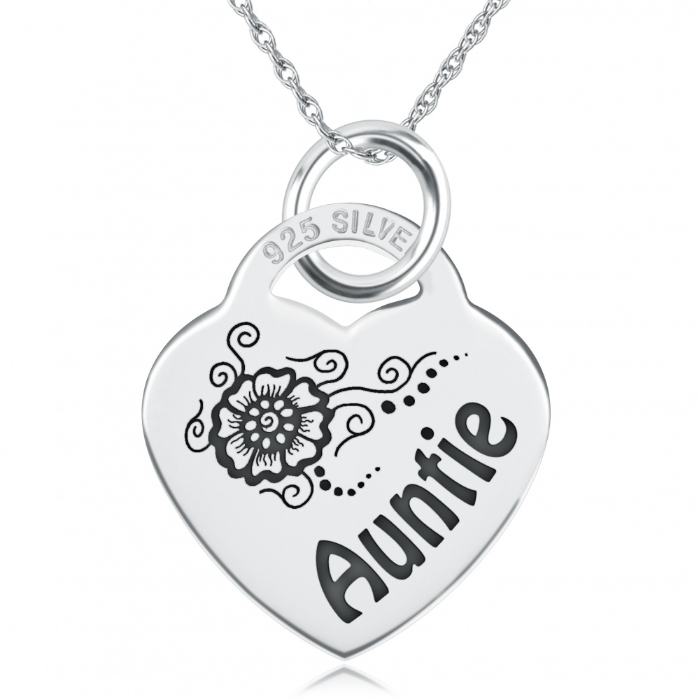 Auntie Necklace, Personalised, Sterling Silver, Heart Shaped