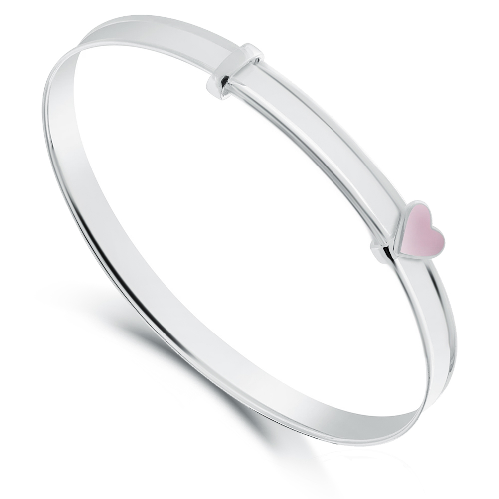 Pink Heart Babies Bangle Sterling Silver by Pippa (Personalised/Engraved)