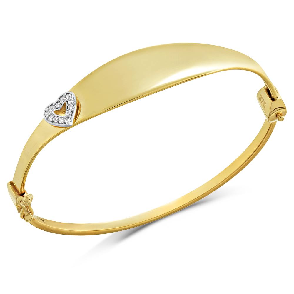 Baby Bangle, 9ct Gold with Heart, Personalised, Hallmarked