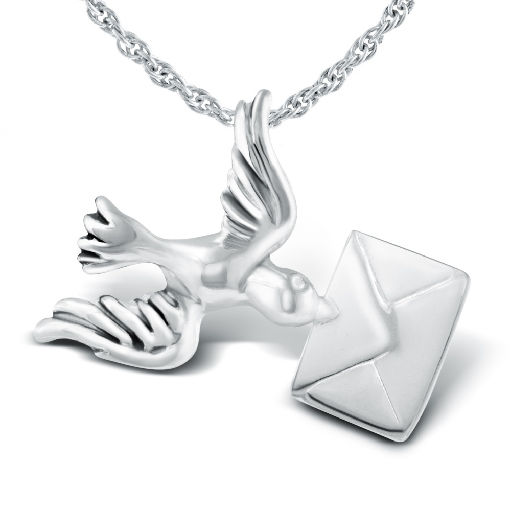 Bird Carrying Love Letter Sterling Silver Necklace