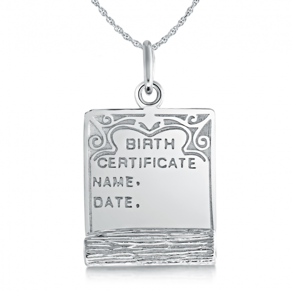 Birth Certificate Necklace, Personalised, Sterling Silver