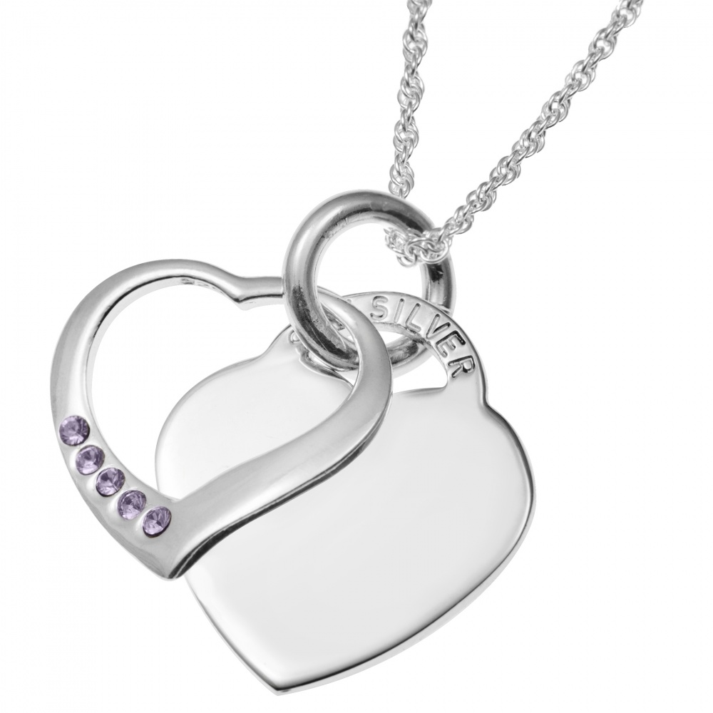 June Birthstone Sterling Silver Double Heart Necklace (can be personalised)