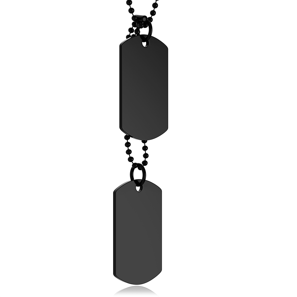 Black Double Dog Tags, Personalised