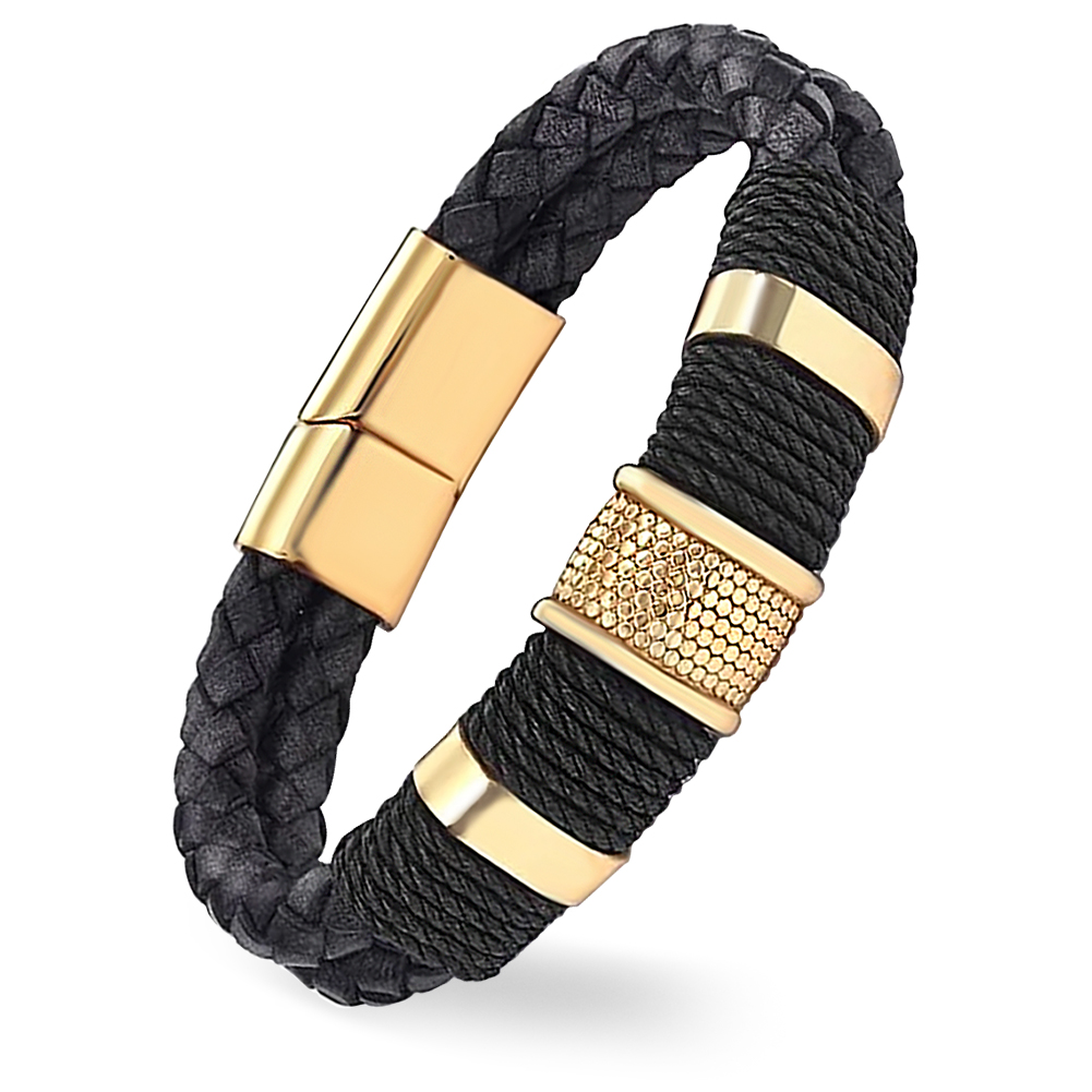 Mens Black & Gold Leather Wrap Around Bracelet, with Personalisation