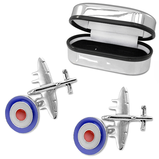 Bomber Plane, RAF Roundal Cufflinks, 925 Sterling Silver (can be personalised)