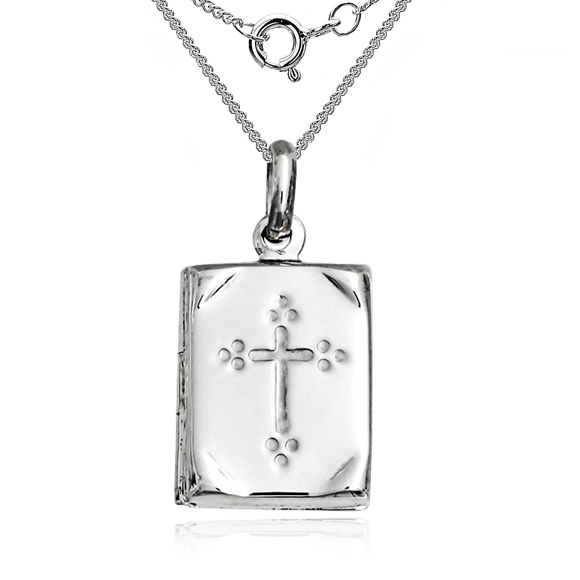 Book Locket with Embossed Cross Sterling Silver (can be personalised)