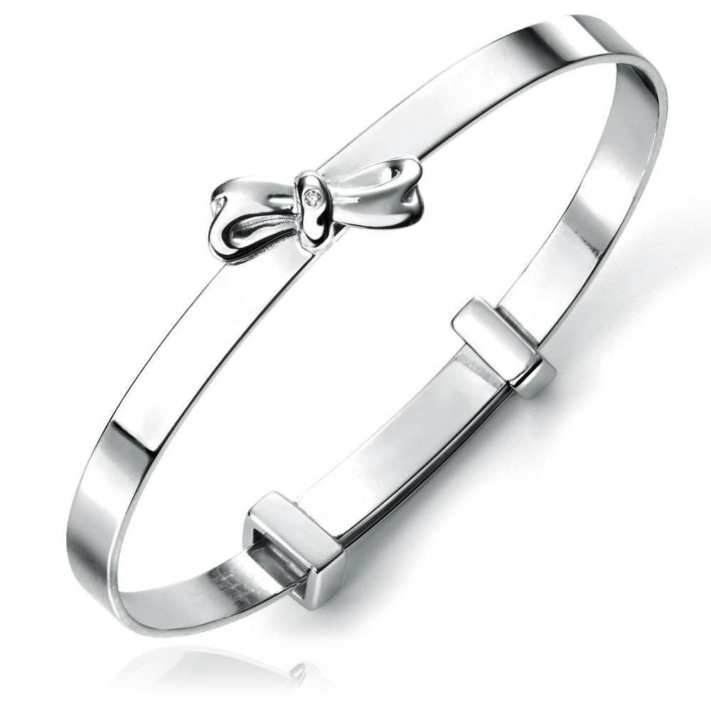 Bow Baby Bangle, Personalised, D for Diamond, Sterling Silver