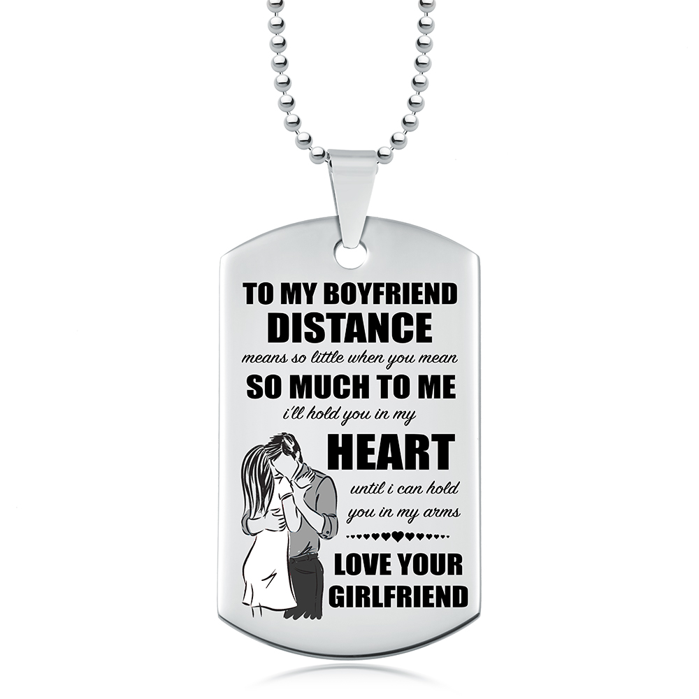Boyfriend Distance Means So Little Dog Tag Personalised Stainless