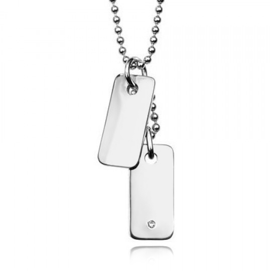 Boys Double Dog Tags, Silver & Diamond by D for Diamond (Personalised/Engraved)