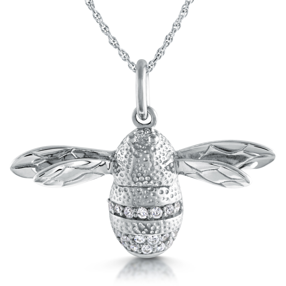 bee silver own personalized pendant design charm bumble jewelry products sterling s your necklace