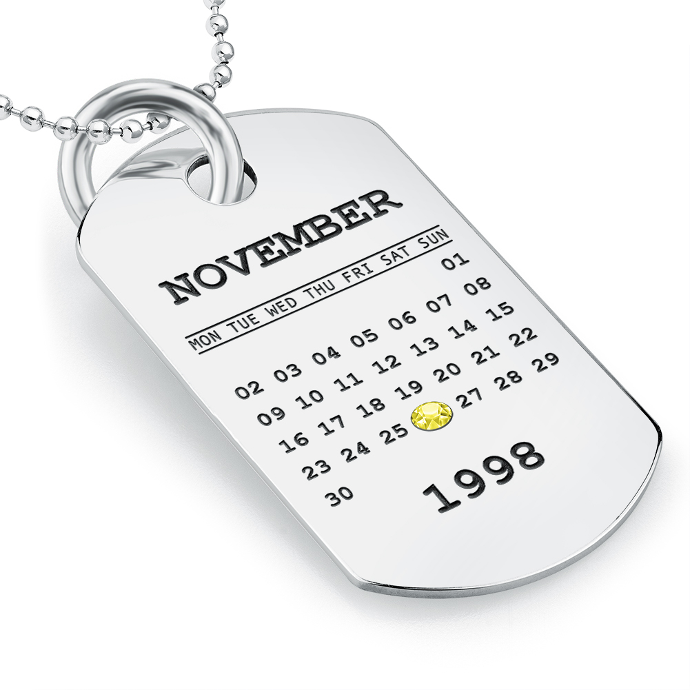 Personalised Calendar Dog Tag Necklace, Sterling Silver