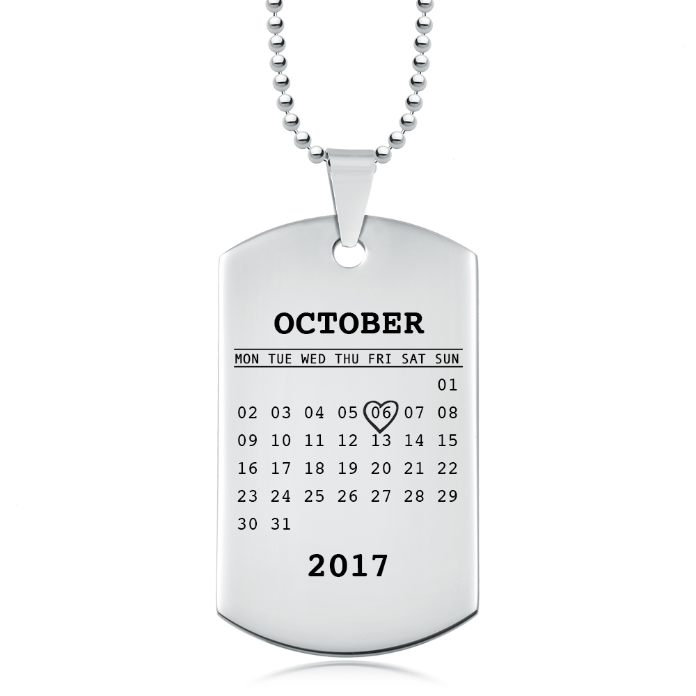 Personalised Calendar Dog Tag Necklace, Mens or Womens, Stainless Steel
