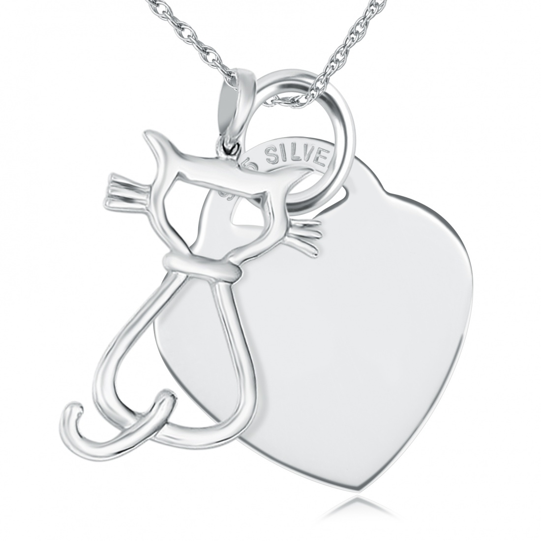 Cat Silhouette Necklace, Personalised, Heart, Sterling Silver