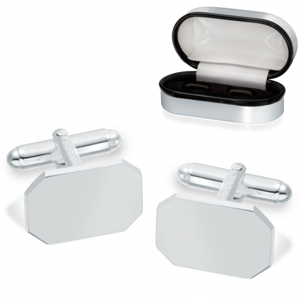 Lozenge Chamfered Edge Cufflinks, Personalised Sterling Silver