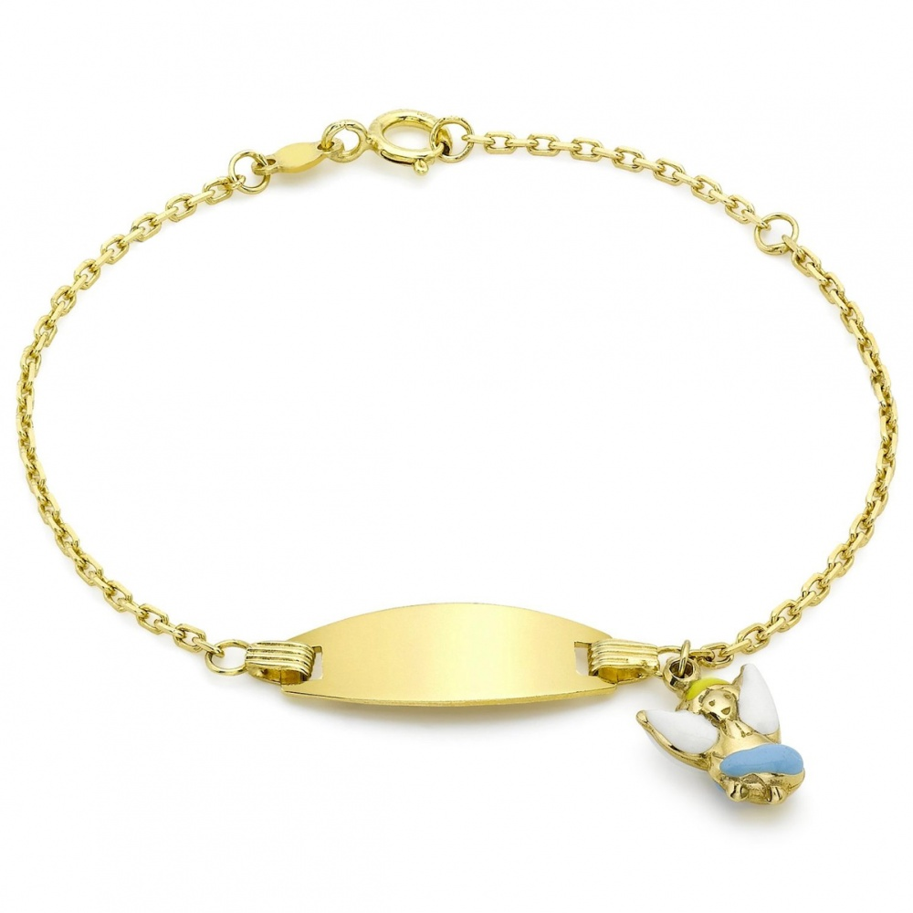 Childrens Angel ID Bracelet, 9ct Gold (Engraving Available)