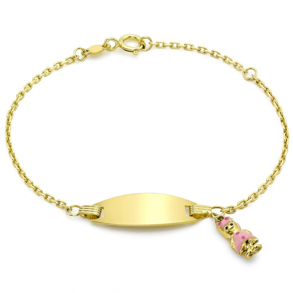 Childrens Girl Id Bracelet 9ct Gold Engraving Available