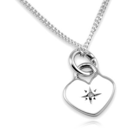 Children's Diamond Set Heart Necklace, Sterling Silver