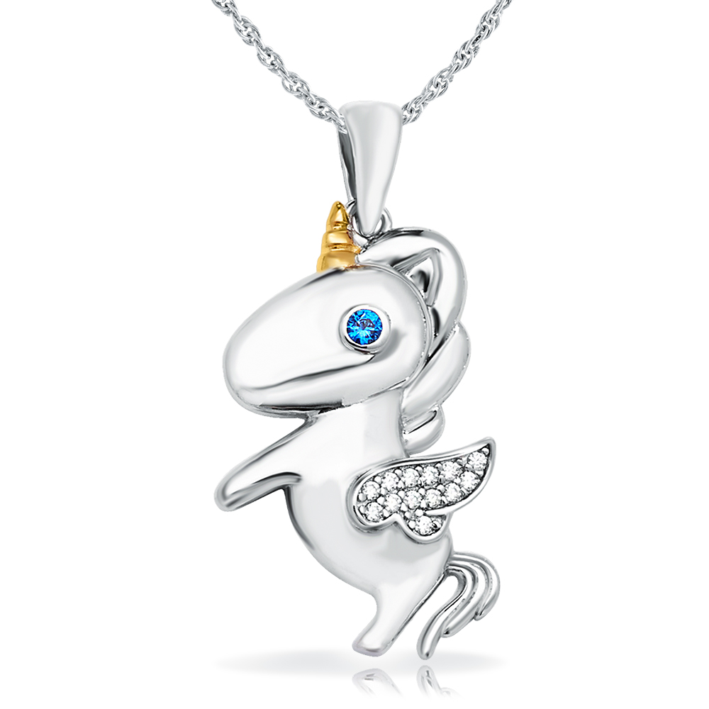 Children's Unicorn Necklace, Sterling Silver