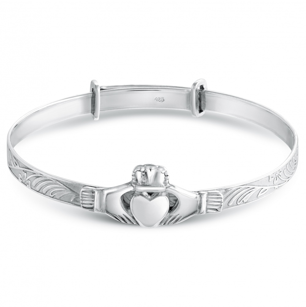 Claddagh Baby Bangle, Personalised, Sterling Silver
