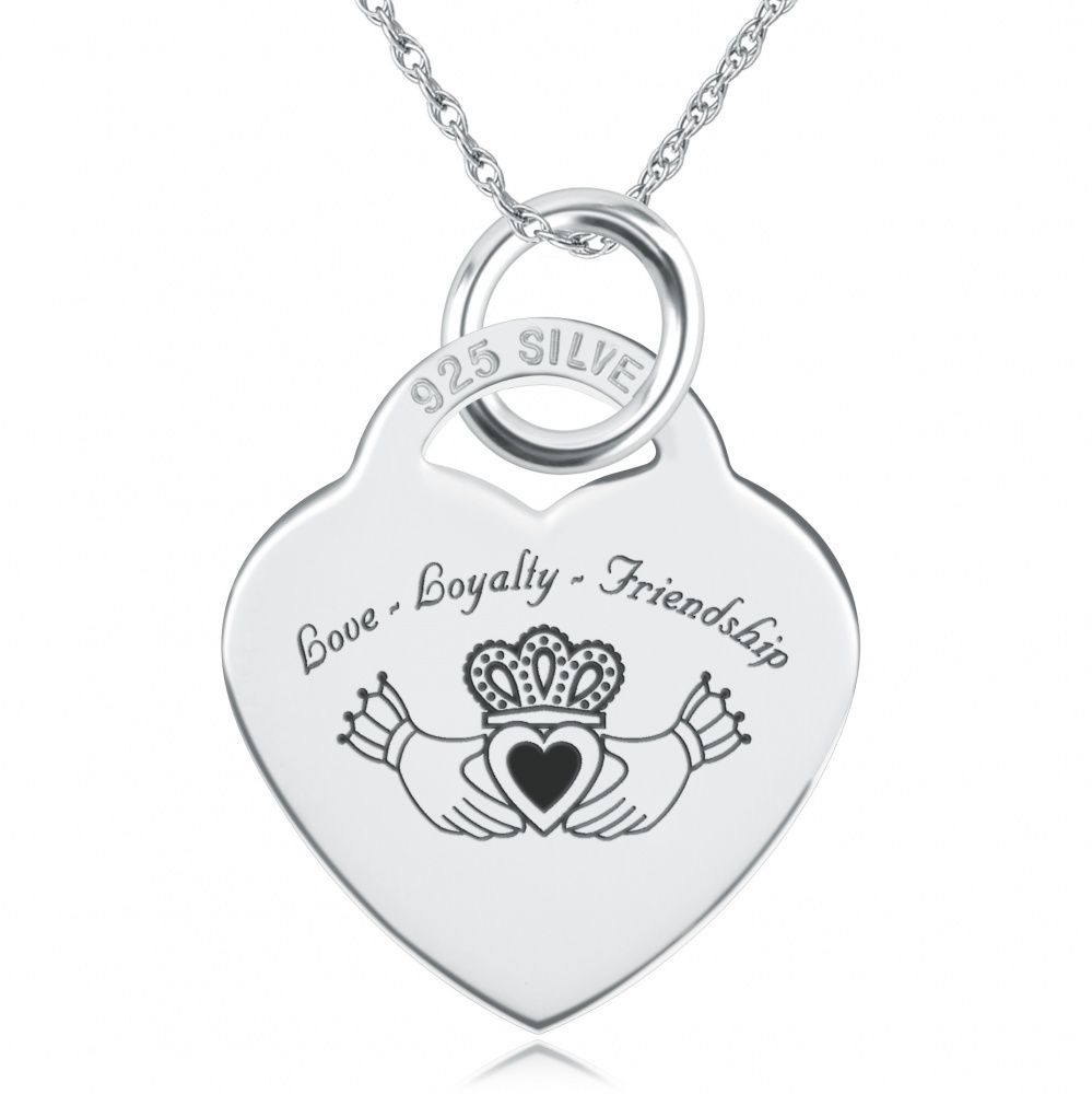 Claddagh Heart Necklace, Personalised, Sterling Silver, Love Loyalty Friendship