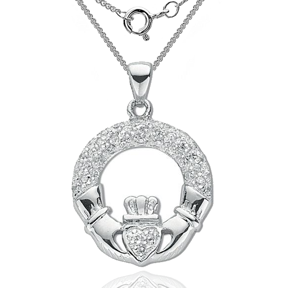 Claddagh Necklace, Pave Set Cubic Zirconia & 925 Sterling Silver