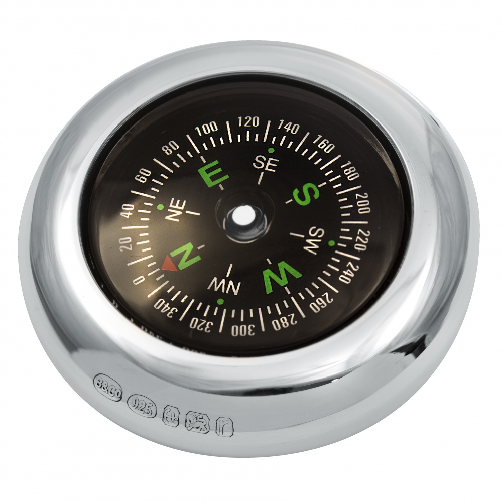 Compass, Personalised / Engraved, 925 Sterling Silver, Hallmarked