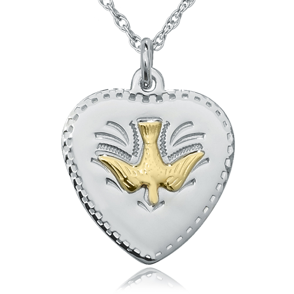 Confirmation Medal/Necklace, Dove of Peace, Personalised, 925 Sterling Silver, Heart
