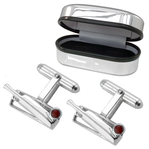 Cricket Stumps & Ball Cufflinks, 925 Sterling Silver, Can be Personalised