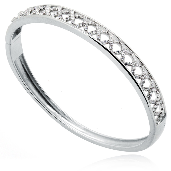 Criss Cross Kisses Bangle, CZ & Sterling Silver