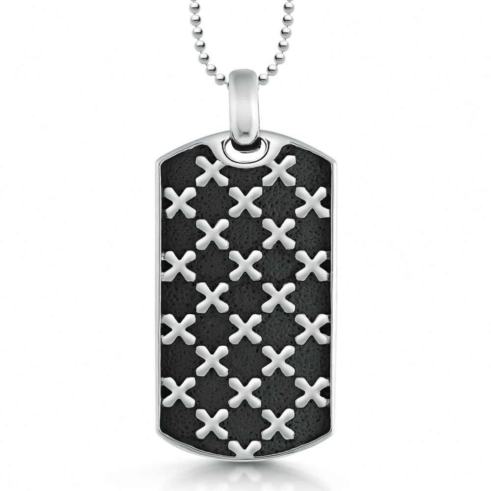 Cross Pattern Dog Tag, Personalised, Stainless Steel