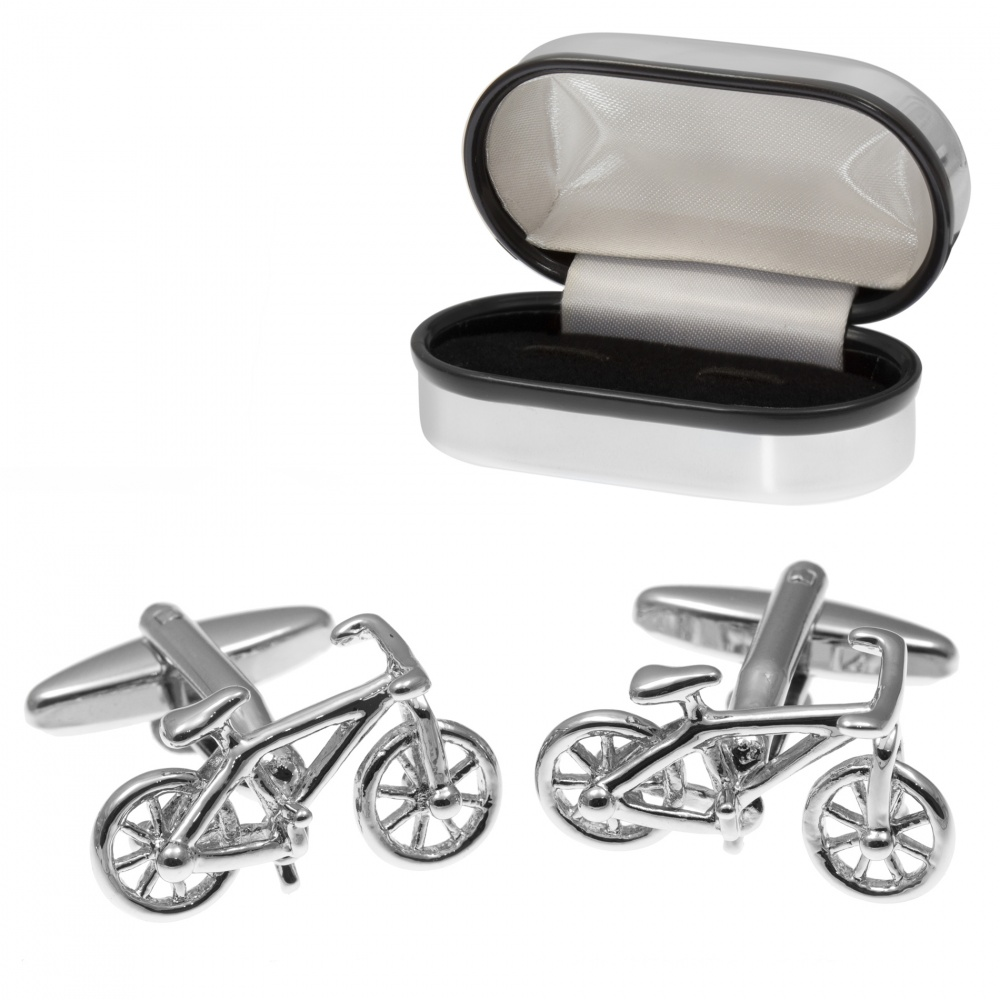 Racing Bike Cufflinks with Chrome Box (can be personalised)