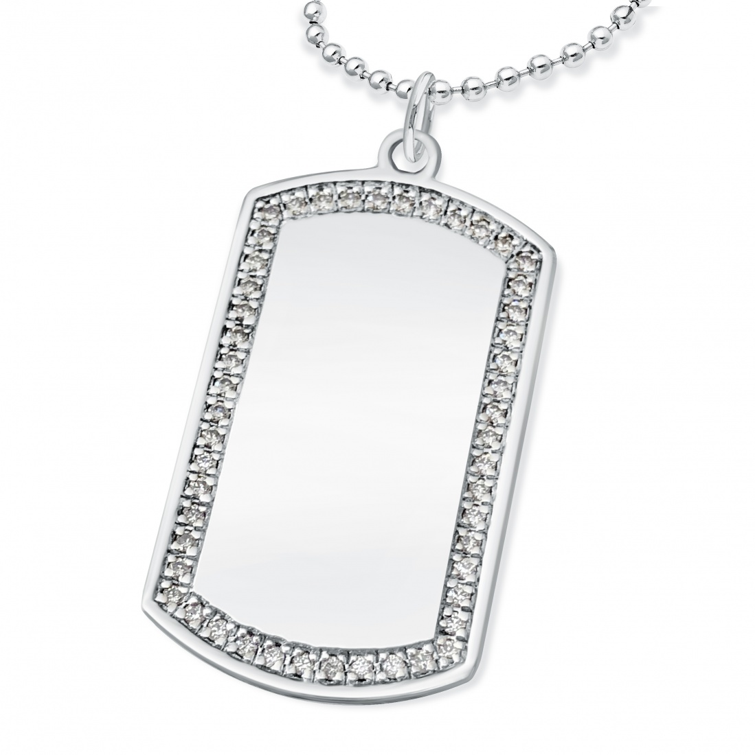 Dog Tag with Cubic Zirconia Border, Personalised Sterling Silver