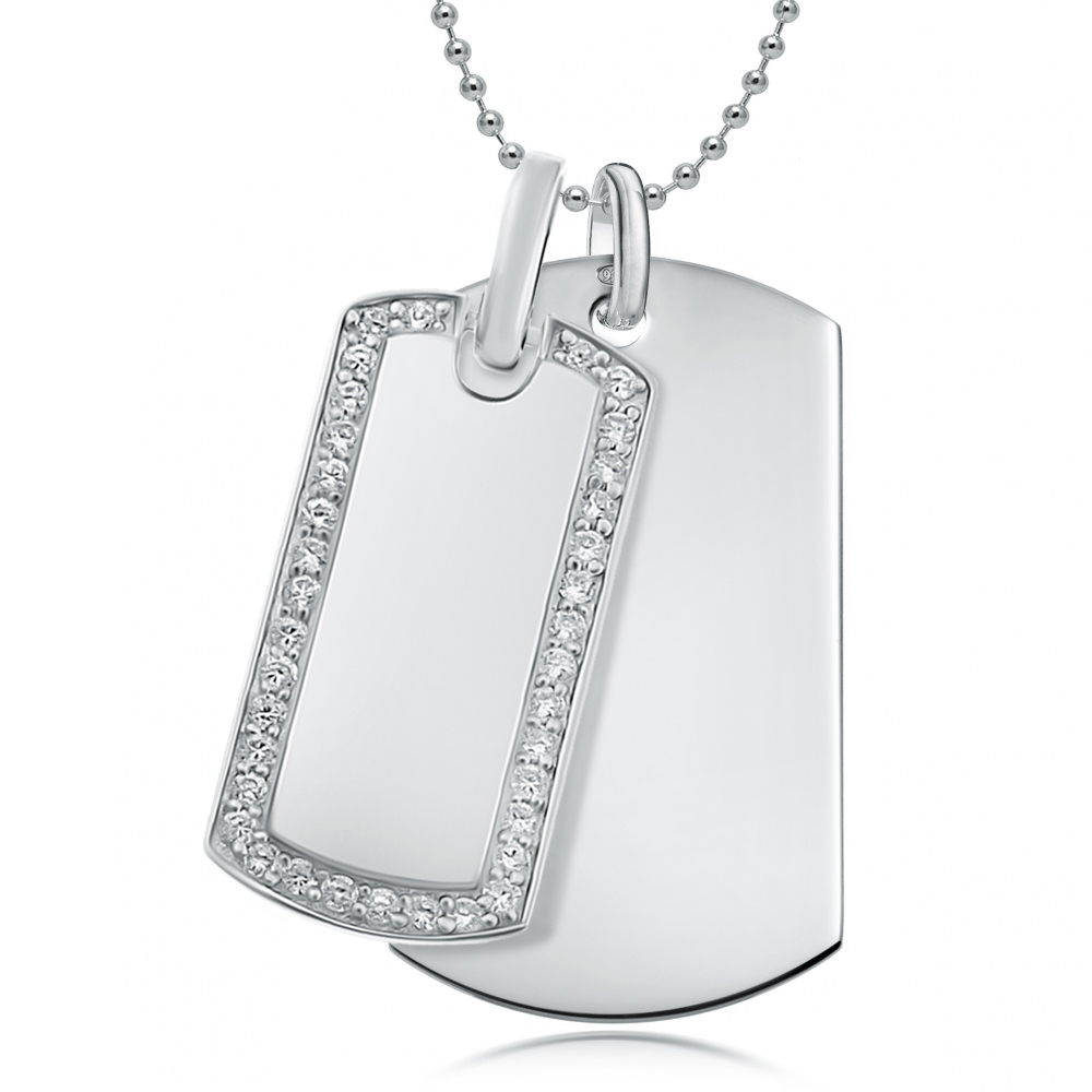 Double Sterling Silver Dog Tags with Cubic Zirconia Border (can be personalised)