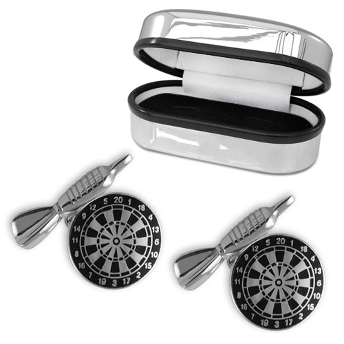 Dart Board and Dart Sterling Silver Cufflinks (can be personalised)