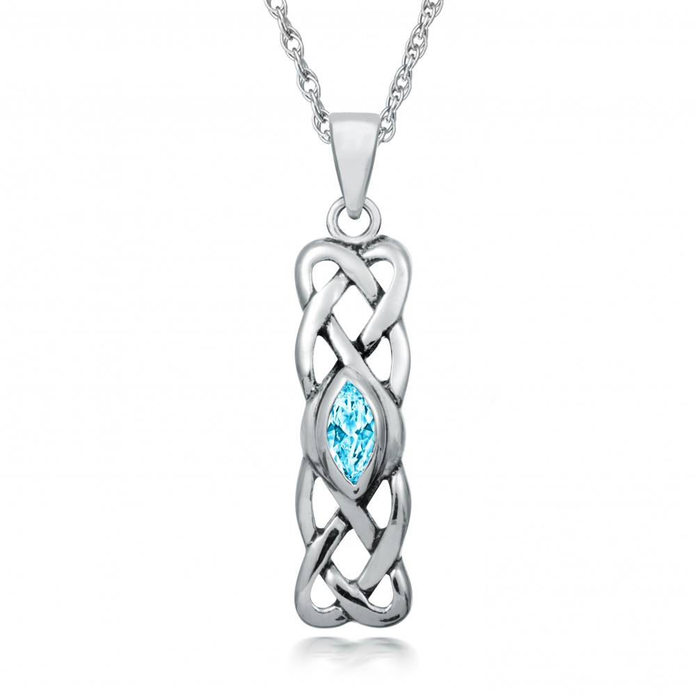 December Birthstone Celtic Knot Sterling Silver Necklace