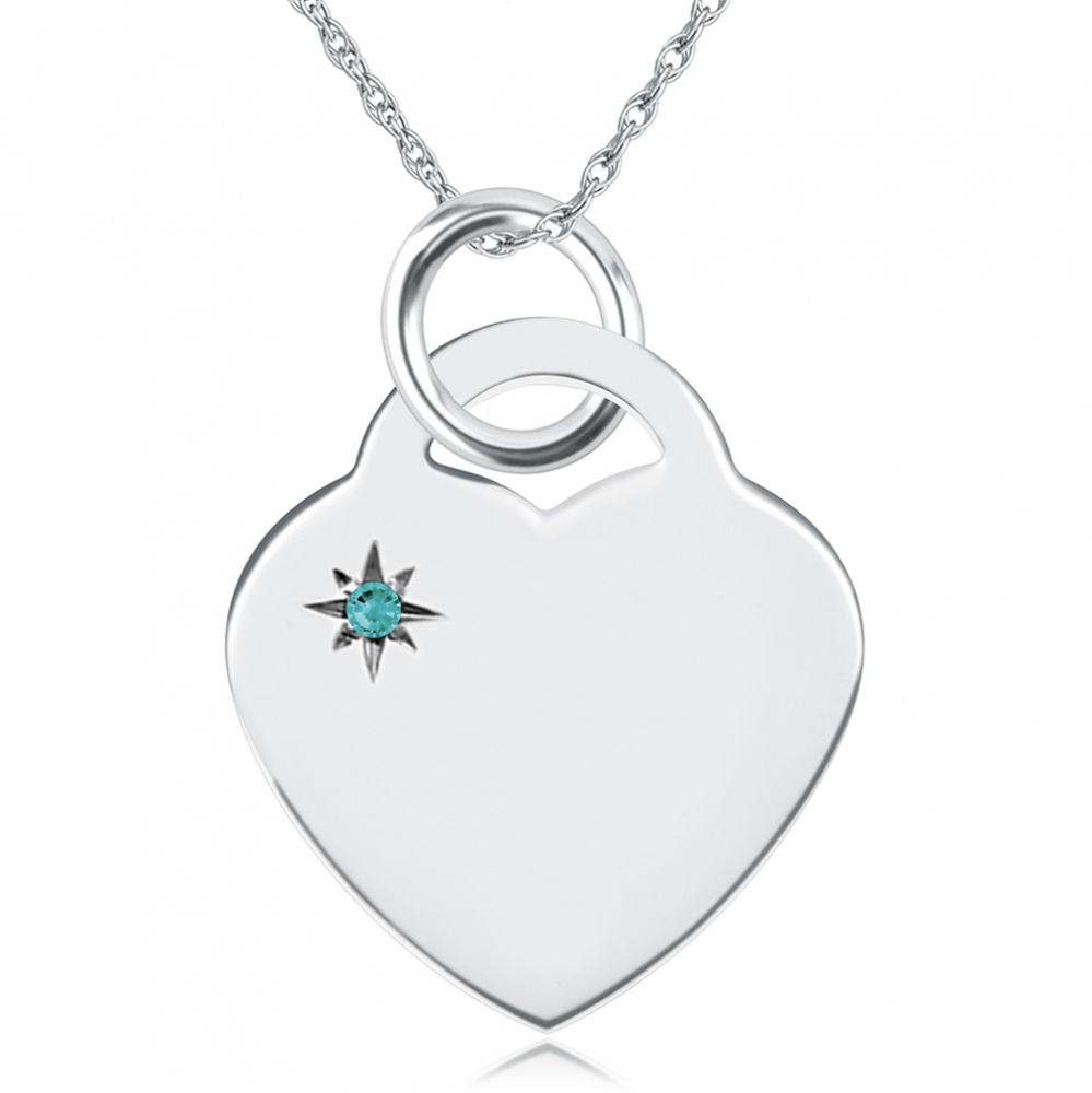 December Birthstone Heart Necklace, Personalised Engraving, Sterling Silver, Turquoise