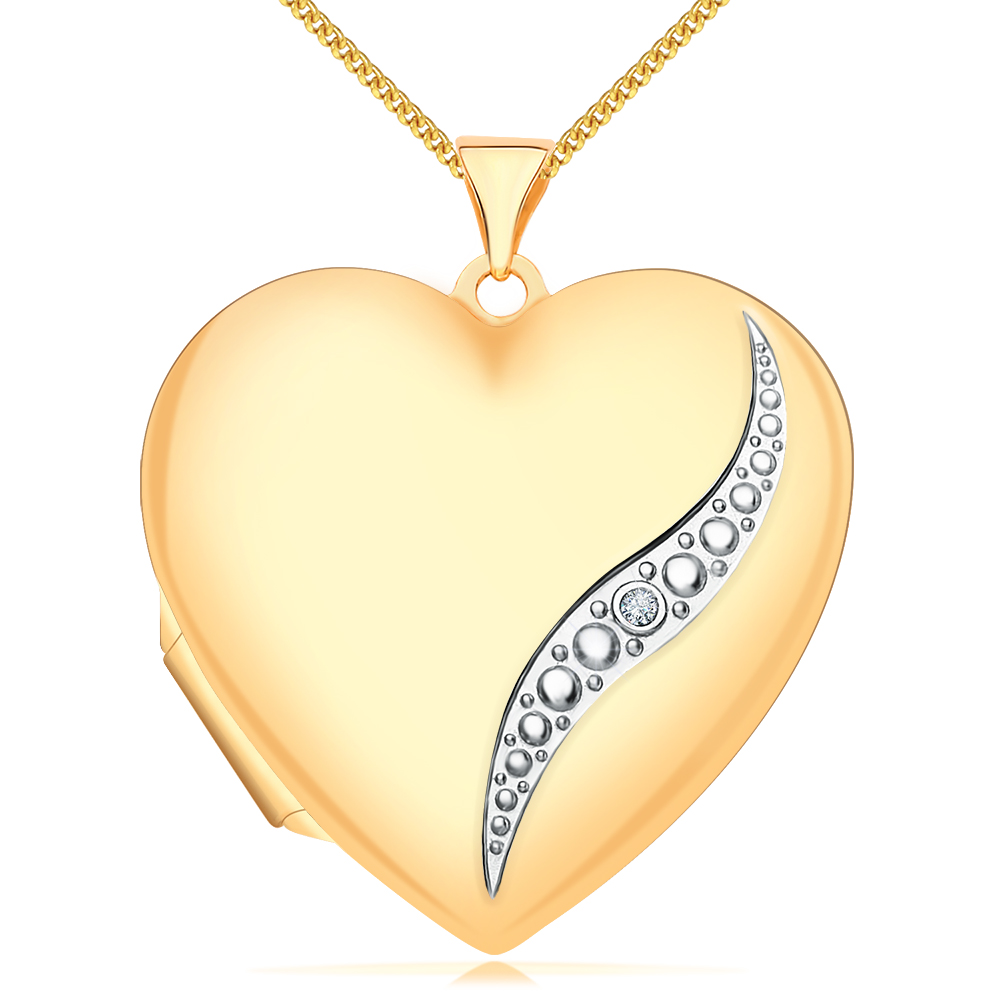 Heart Shaped Locket, 9ct Yellow Gold, with Personalised Engraving, Diamond Set