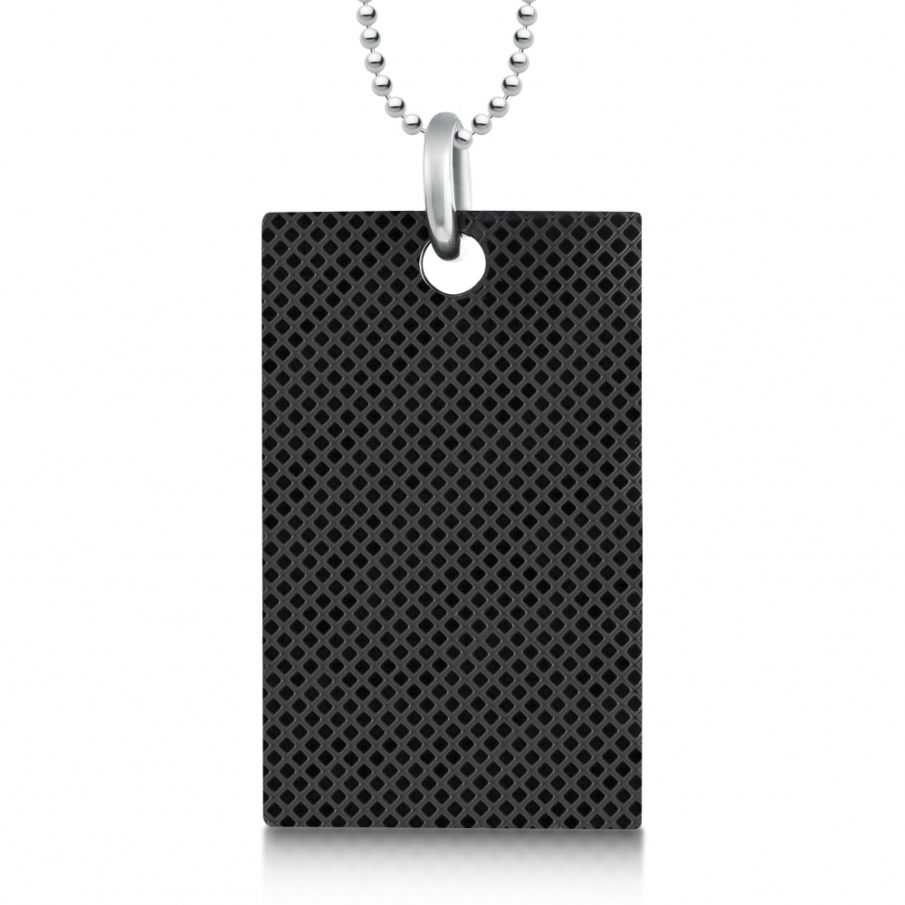Diamond Pattern Dog Tag, Personalised, Stainless Steel, Black