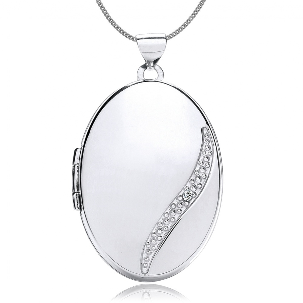 Diamond Wave Locket, 9ct White Gold, Personalised, Engraved