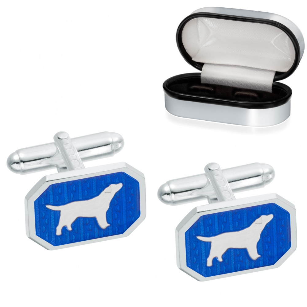 Dog Cufflinks, Blue Enamel & 925 Sterling Silver (can be personalised)